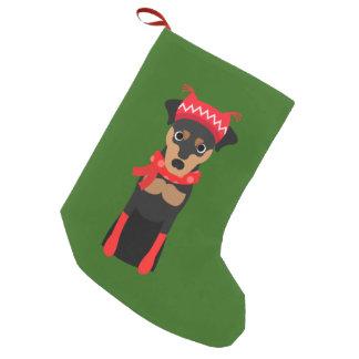 Calcetín Navideño Pequeño Almacenamiento del navidad del Pinscher miniatura