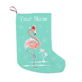 Calcetín Navideño Pequeño Almacenamiento del nombre del flamenco del navidad