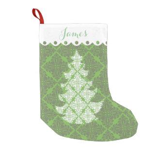Calcetín Navideño Pequeño Árbol verde y blanco del día de fiesta del modelo