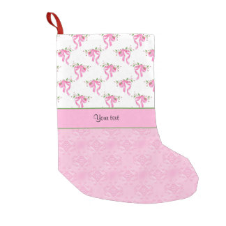 Calcetín Navideño Pequeño Arcos románticos del rosa y damasco rosado bonito