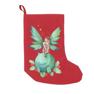 Calcetín Navideño Pequeño Arte de hadas de la fantasía del acebo del navidad