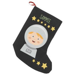 Calcetín Navideño Pequeño Astronauta - estrellas del astronauta en espacio