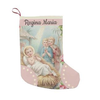 Calcetín Navideño Pequeño Bebé personalizado Jesús en chicas del pesebre