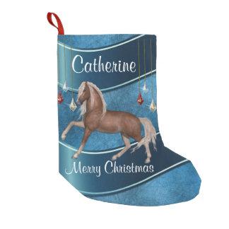 Calcetín Navideño Pequeño Caballo en azul con Felices Navidad de los