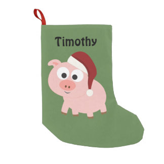 Calcetín Navideño Pequeño Cerdo lindo de Santa