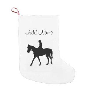 Calcetín Navideño Pequeño Chica en caballo