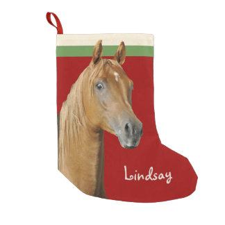 Calcetín Navideño Pequeño Chicas del rojo del caballo de Brown