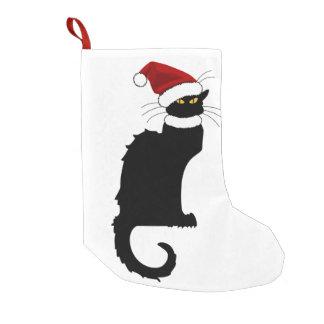 Calcetín Navideño Pequeño Christmas Le Chat Noir con el gorra de Santa