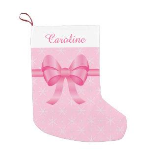 Calcetín Navideño Pequeño con un lazo rosa para personalizar con tu nombre