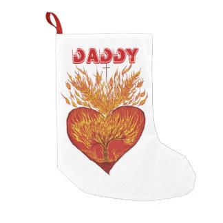 Calcetín Navideño Pequeño Corazón en personalizable del fuego