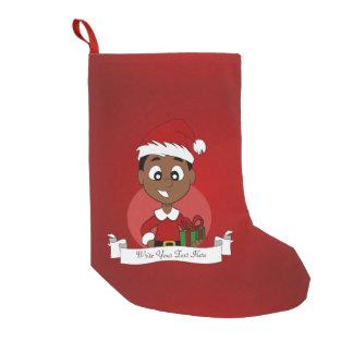 Calcetín Navideño Pequeño Dibujo animado del muchacho del navidad