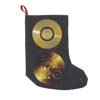 Calcetín Navideño Pequeño Disco de oro y cubierta de la nave espacial del
