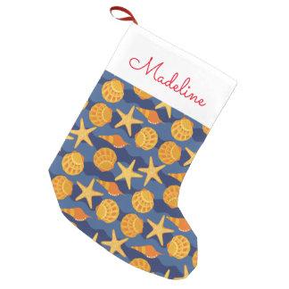 Calcetín Navideño Pequeño El modelo azul y anaranjado el   del Seashell