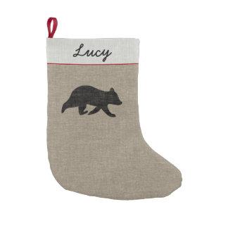 Calcetín Navideño Pequeño El oso Cub siluetea con el texto de encargo