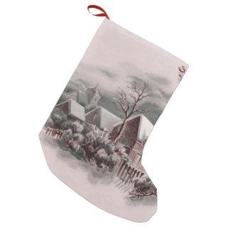 Calcetín Navideño Pequeño escena del invierno del navidad