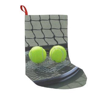 Calcetín Navideño Pequeño Estafa del campo de tenis y pelotas de tenis
