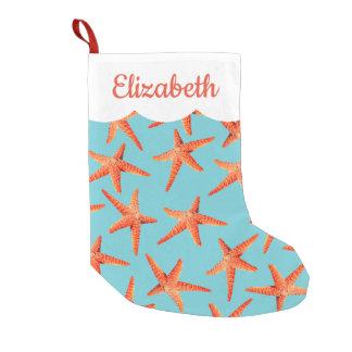 Calcetín Navideño Pequeño Estrellas de mar costeras con playas del navidad
