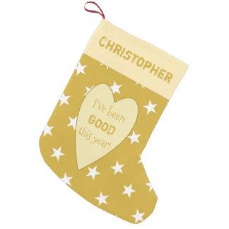 Calcetín Navideño Pequeño Estrellas personalizadas del navidad del oro