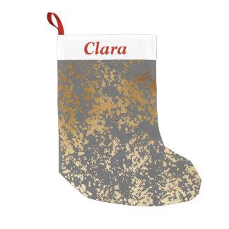 Calcetín Navideño Pequeño falsa hoja de oro elegante y pinceladas grises