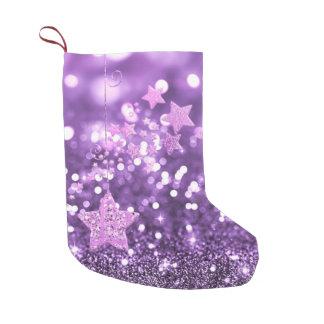 Calcetín Navideño Pequeño Falso brillo púrpura y estrellas de Bokeh
