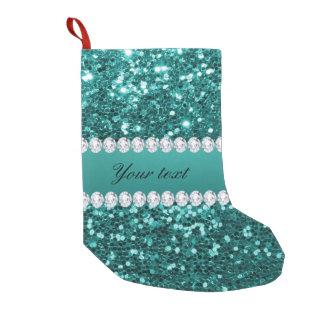 Calcetín Navideño Pequeño Falso brillo y diamantes del trullo elegante