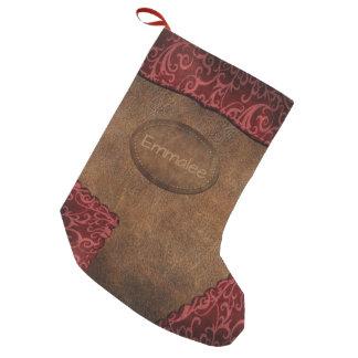 Calcetín Navideño Pequeño Falso cuero rojo marrón del monograma
