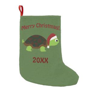Calcetín Navideño Pequeño ¡Felices Navidad! Tortuga de Santa