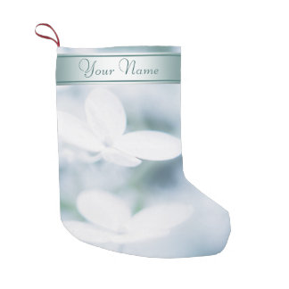 Calcetín Navideño Pequeño Flores blancos hermosos del hydrangea. Añada el