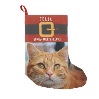 Calcetín Navideño Pequeño Foto divertida y nombre del gato de Papá Noel