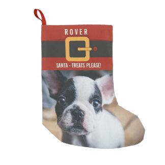 Calcetín Navideño Pequeño Foto divertida y nombre del perro de Papá Noel