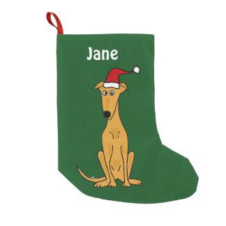 Calcetín Navideño Pequeño Galgo divertido en el almacenamiento del navidad