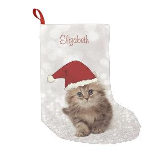 Calcetín Navideño Pequeño Gato divertido lindo con el gorra de Santa, Bokeh