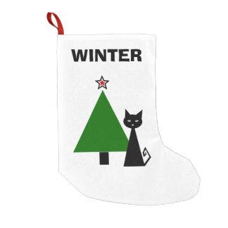 Calcetín Navideño Pequeño Gato negro personalizado