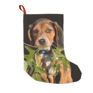 Calcetín Navideño Pequeño Hojas que llevan del perrito adorable del beagle