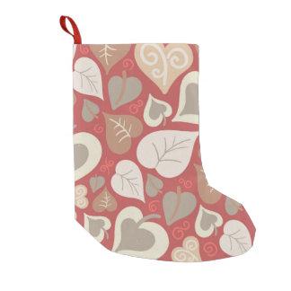 Calcetín Navideño Pequeño hojas rojas hermosas de los corazones del amor