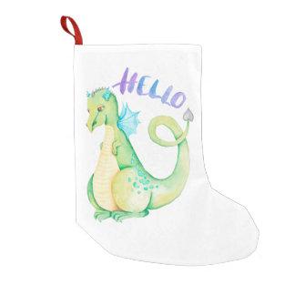 Calcetín Navideño Pequeño Hola dinosaurio