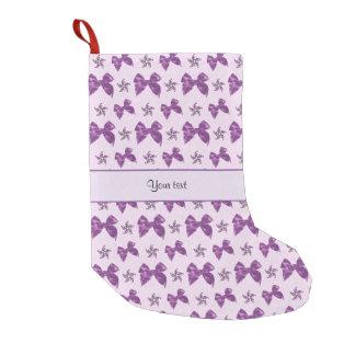 Calcetín Navideño Pequeño Lazos de satén púrpuras hermosos