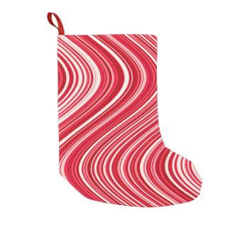 Calcetín Navideño Pequeño Líneas onduladas en rojo y blanco