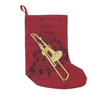 Calcetín Navideño Pequeño Media de la música del Trombone (válvula)