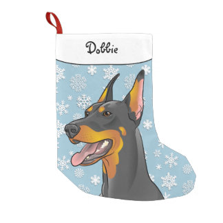 Calcetín Navideño Pequeño Media del Doberman de las Felices Navidad