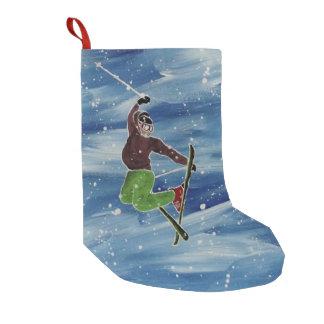 Calcetín Navideño Pequeño Media del tema del esquí