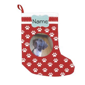 Calcetín Navideño Pequeño Media personalizada pata de la foto del perro