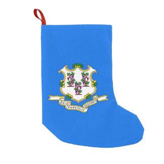 Calcetín Navideño Pequeño Medias del navidad con la bandera de Connecticut,