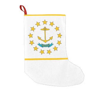 Calcetín Navideño Pequeño Medias del navidad con la bandera de Rhode Island