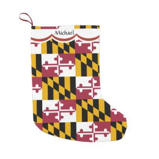 Calcetín Navideño Pequeño Modelo de la bandera de Maryland personalizado