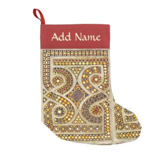 Calcetín Navideño Pequeño Modelo de mosaico del oro del Romanesque