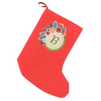 Calcetín Navideño Pequeño Monograma floral en la media roja