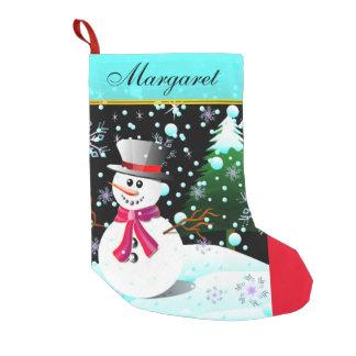 """Calcetín Navideño Pequeño Muñeco de nieve """"Felices Navidad"""" personalizadas"""