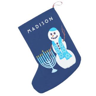 Calcetín Navideño Pequeño Muñeco de nieve judío Menorah SML Chrismukkah de