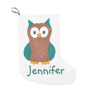 Calcetín Navideño Pequeño Navidad azul sabio personalizado del pájaro del